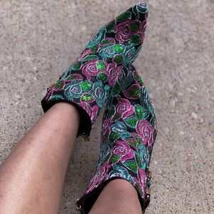 Pink Green Blue Floral Embroidered Booties